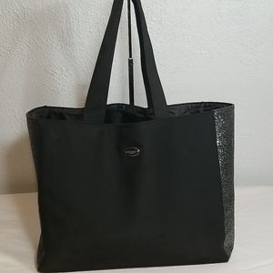 Coach Shopping Tote Black and Silver